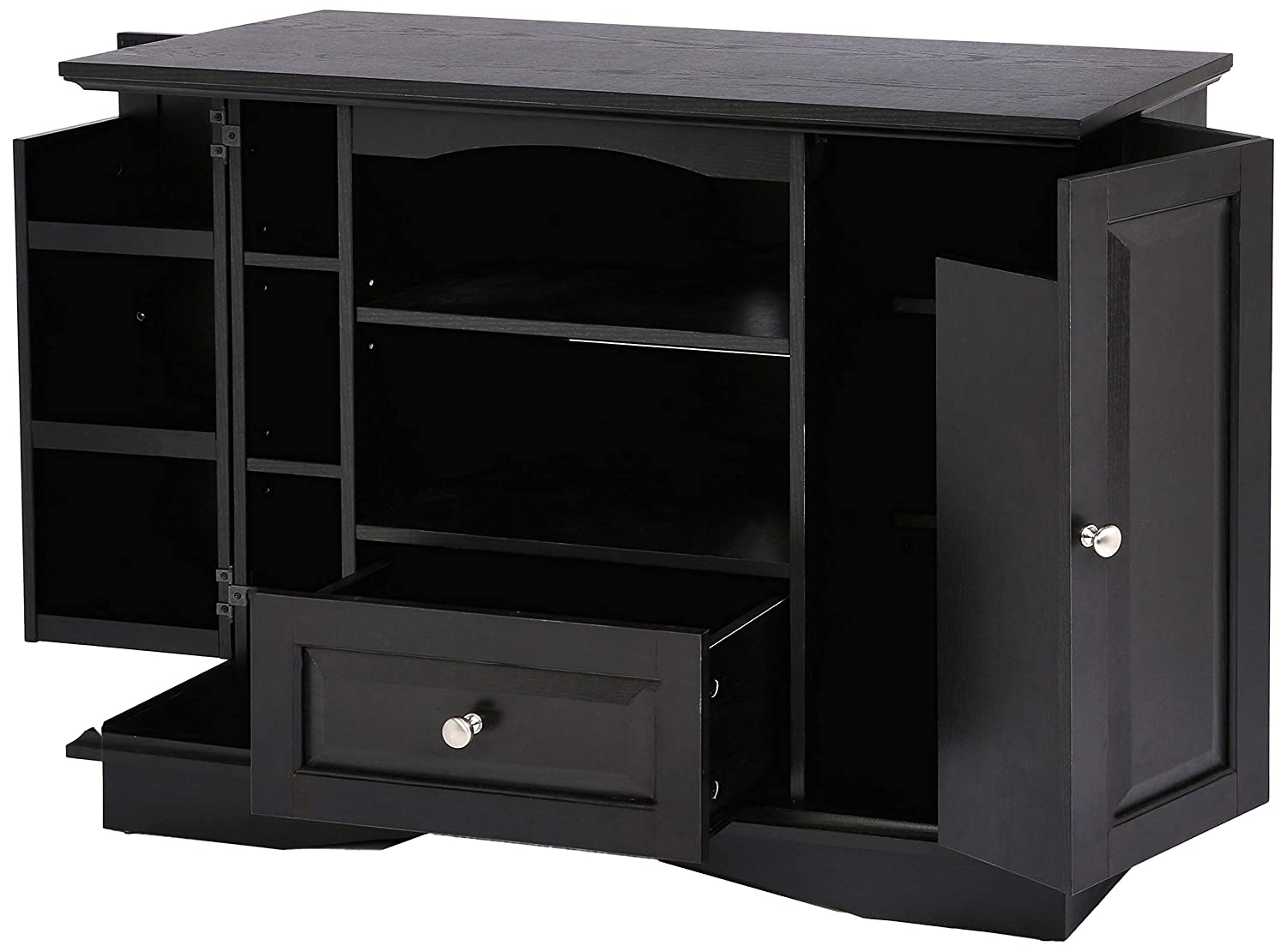 Rockpoint Milano Highboy-Style Wood TV Stand Media Console, 42-Inch, Espresso Black