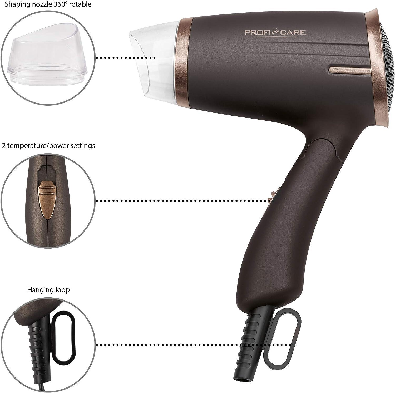 ProfiCare PC HT 3009 Brown Sèche Cheveux Pliable 1400 Watts Marron 2 réglages de température