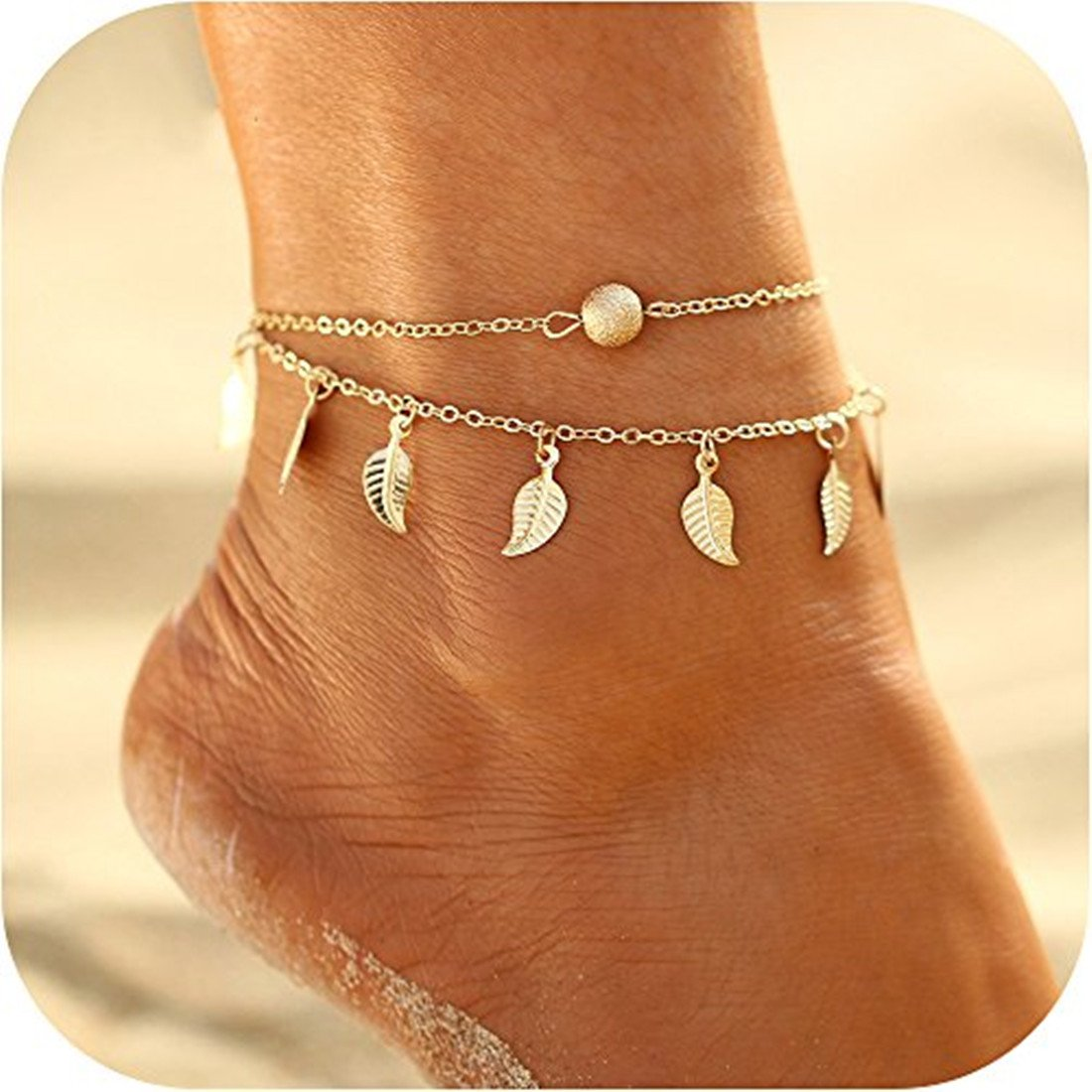 Anklet Ankle Foot Bracelet Chain Jewelry, Gold Sea Beach Handmade Exquisite Ankle Foot Bracelet Chain Jewelry Gifts for Women Girls SwanElegant