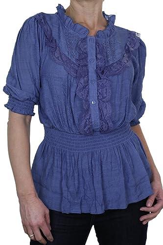 ICE (4058-4) elegante camisa azul con textura Gloss con ¾ mangas y Chorrera de encaje
