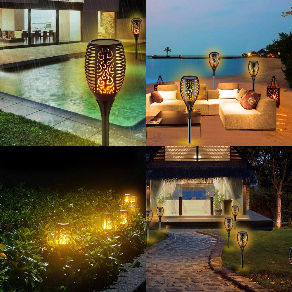 Solar Torch Lights,Waterproof Flickering Flame Torch Lights Outdoor Solar Spotlights Landscape Decoration Lighting Dusk to Dawn Security Path Light for Garden Patio Deck Yard Driveway (4 Pack) by Larkin (Image #3)