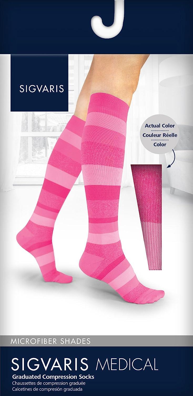 Amazon.com: SIGVARIS Womens Microfiber Shades 830 Calf 20-30mmHgWomens Closed ToeCalfNavy StripeMS - Medium Short20-30mmHg: Health & Personal Care