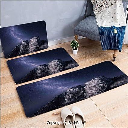 Amazon com : 3 Piece Fashion Flannel Door Mat Carpet Rock Surface