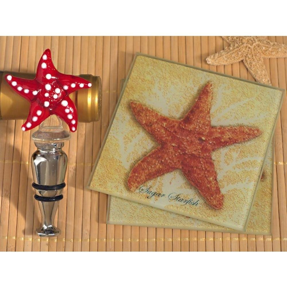 Murano Collection Starfish Design Coaster and Bottle Stopper Set - 36 Sets
