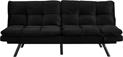 Dwell Home Inc SI-CA-POR-K Simmons Portland Memory Foam Seating Black Convertible Sofa, One Size