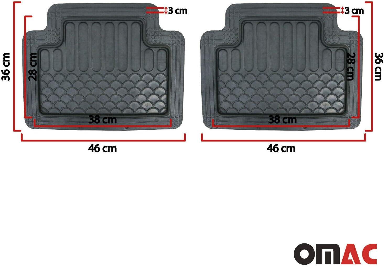 Omac GmbH Tapis de sol de voiture toutes saisons Tapis de coffre d/écoupable Set pour Corsa Tapis de voiture en caoutchouc Bac de coffre Noir