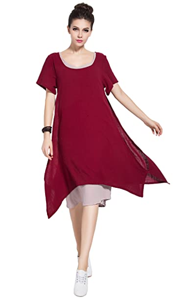 9aa5bfbd41f Anysize Spring Summer Soft Linen Cotton Fake-Two-Piece Plus Size Dress Y75   Amazon.ca  Clothing   Accessories