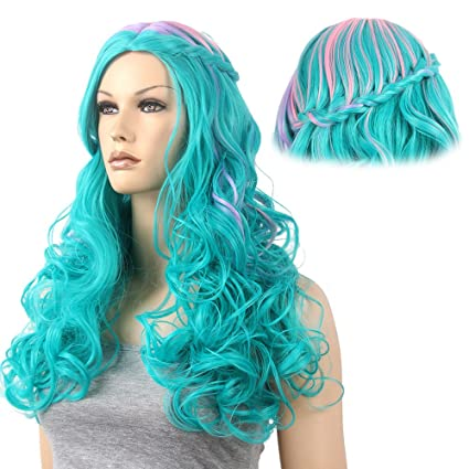 stfantasy aguamarina Ombre largo rizado trenzado peluca para mujer Halloween Cosplay Party Hair 26 ""