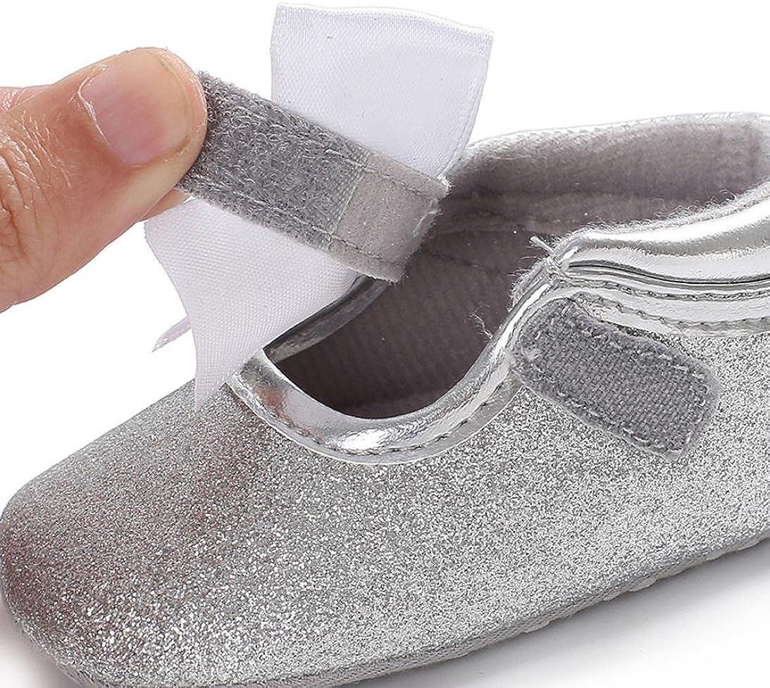 manadlian Chaussures B/éb/é Chaussure Premier Pas Fille Blanc Chaussures de B/éb/é Bapt/ême Semelle Souple