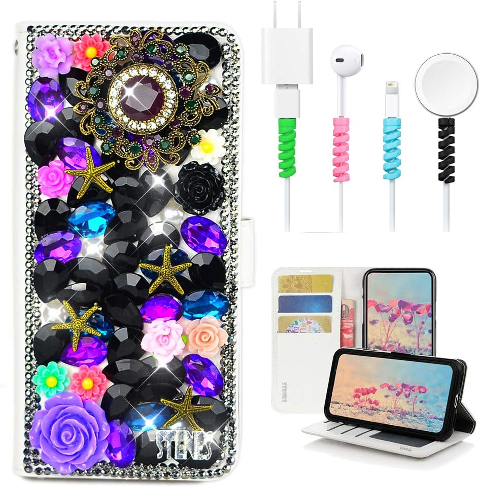Stylish - Black 4 Pack STENES Bling Wallet Case Compatible with Google Pixel 3a 3D Handmade Peacock Design Leather Cover with Cable Protector