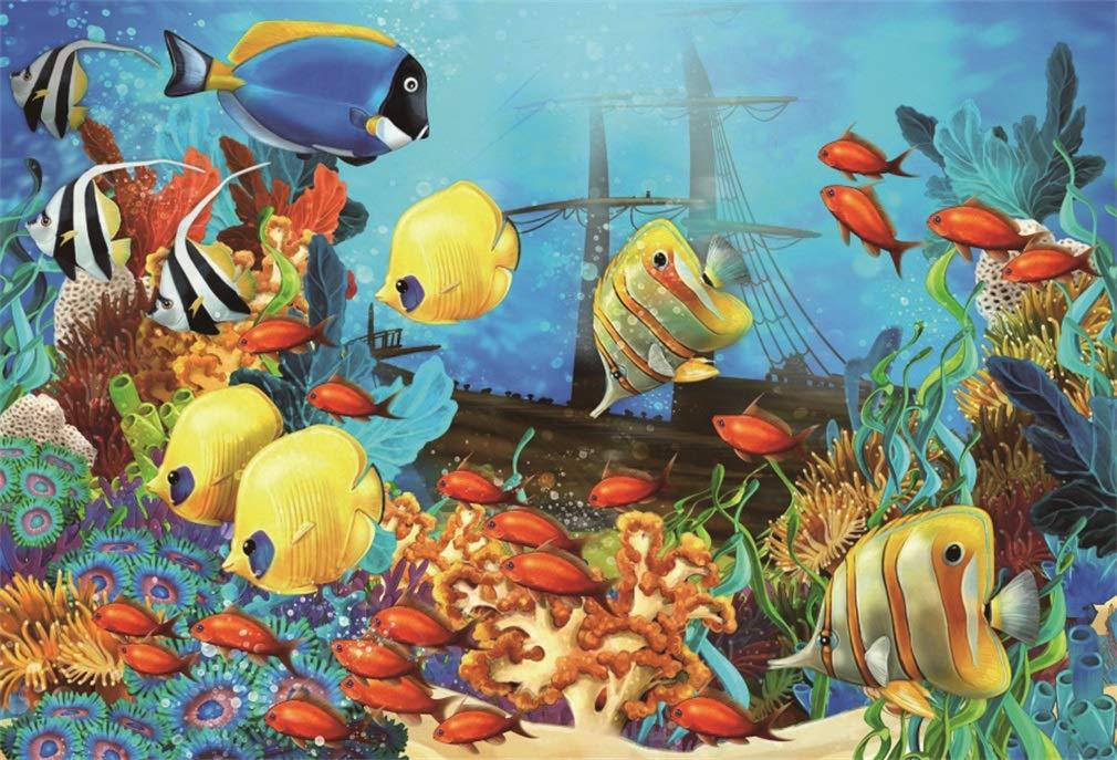 YongFoto 2,2x1,5m Fondo de Fotografia Submarino Mundo Acuario Peces Coral Burbuja Barco Azul Agua Interior Papel Pintado Dibujos Animados Telón de Fondo ...