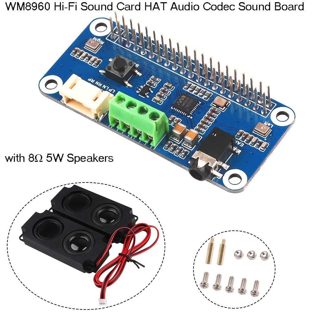 Zero WH 2B Tarjeta de sonido de alta fidelidad WM8960 M/ódulo de amplificador de la placa de sonido Codec de audio HAT WM8960 I2S Expansion Board para Raspberry Pi Zero 3B 3B Zero W