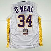 $199 » Autographed/Signed Shaquille Shaq O'Neal Los Angeles LA White Basketball Jersey JSA COA