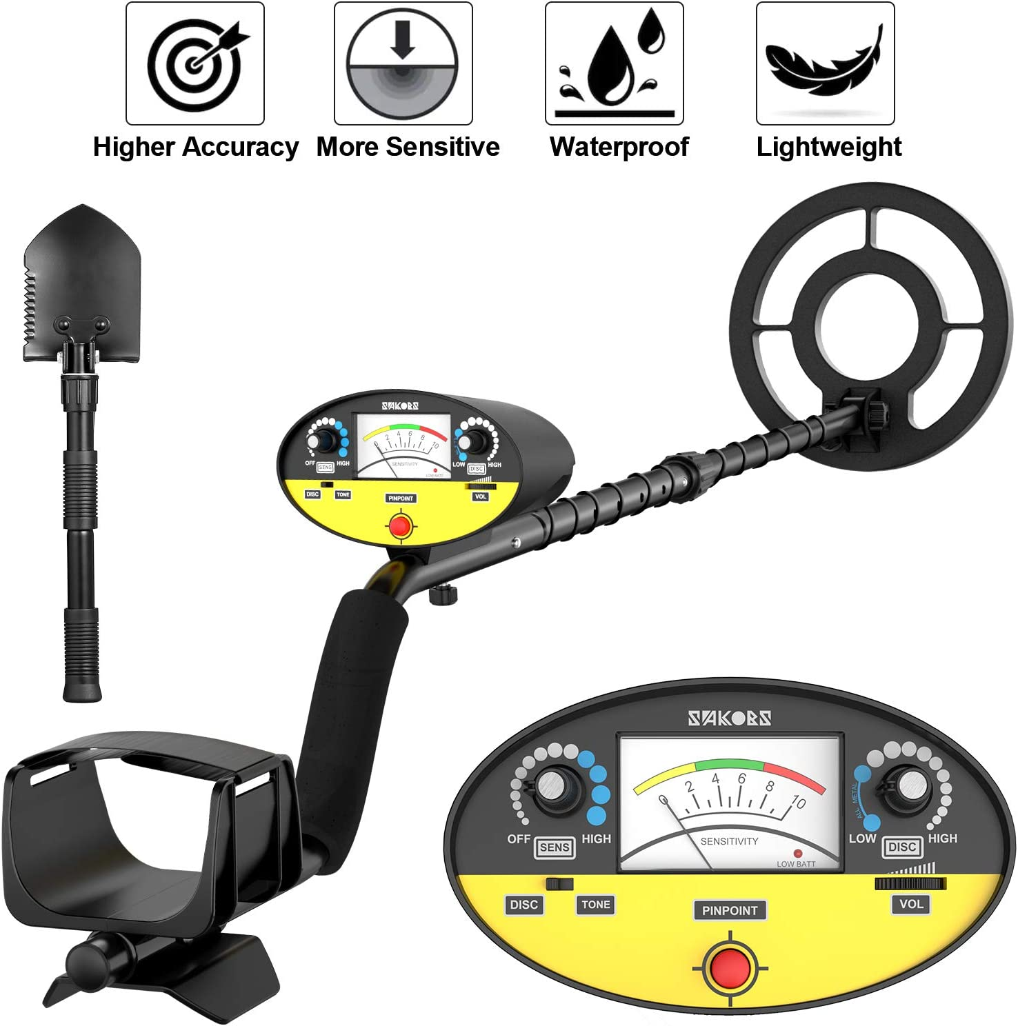 SAKOBS Metal Detector for Adults – High-Accuracy Metal Detector Waterproof Professional Disc Tone Full Metal Pinpoint Modes Gold Finder for Treasure Hunter Underwater Kids