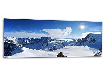 KD Dsign+ XXL Glasbild AG312500283 MURAL PISTEN PARADIES BERG 125 x 50  cm/WANDBILD Deco Glass/Handmade