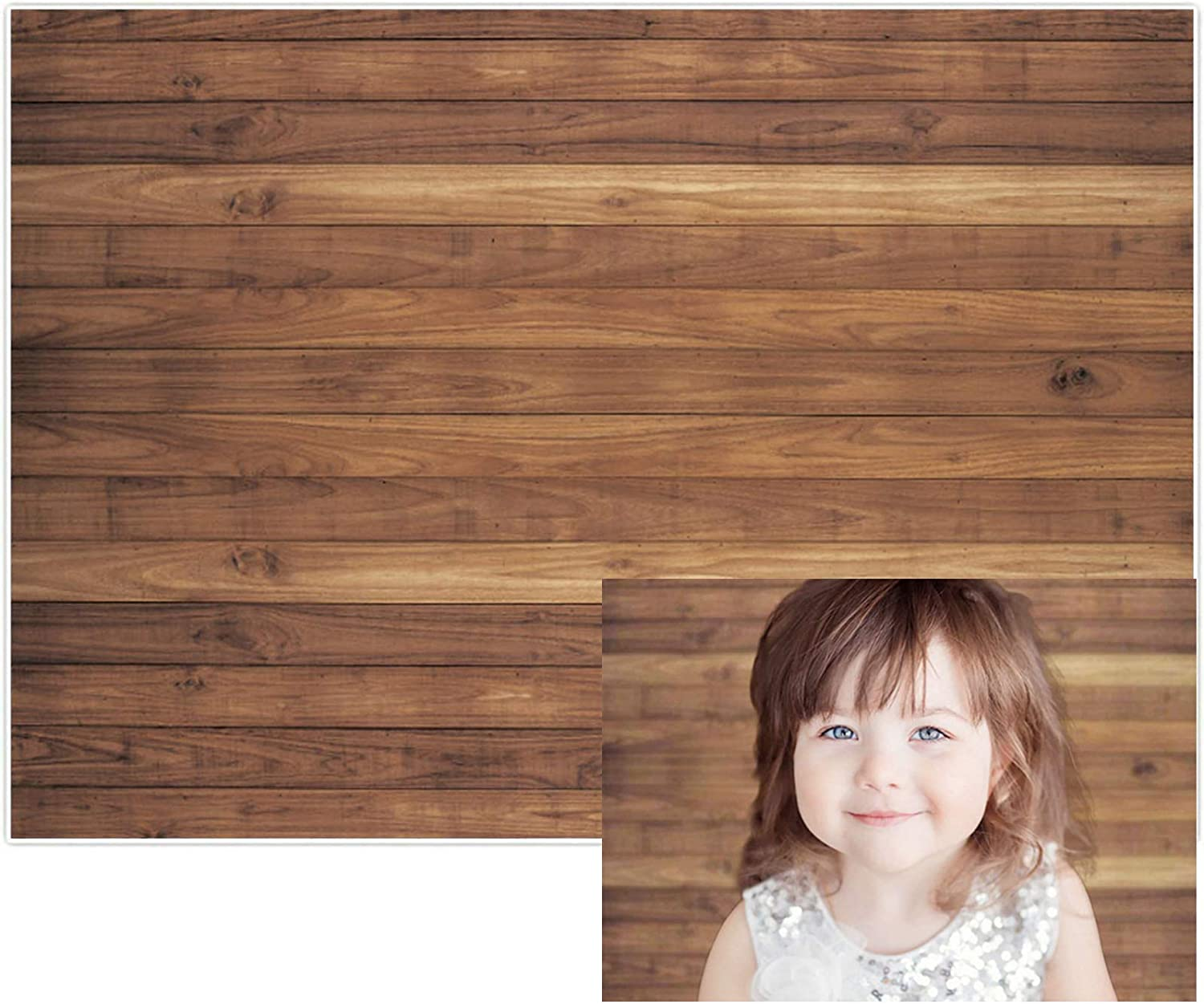 Allenjoy 5x7ft Soft Fabric Abstract Brown Wall with Wood Floor Backdrop for Newborn Baby Photography Kids 1st Birthday Cake Smash Photoshoot Retro Portrait Photo Background Photographer Props