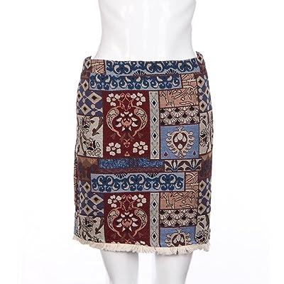 Anshinto Women Casual Cotton And Linen A-Line Above Knee High Waist Skirt Patchwork Tassel skirt