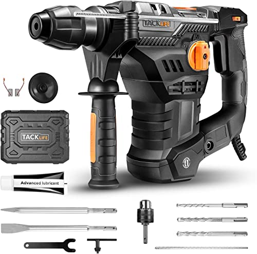 TACKLIFE 1-1 4 Inch SDS-Plus 12.5 Amp Rotary Hammer Drill, 7Joules Impact Energy, 4350BPM, 900RPM, 4 Functions, Vibration Damping Technology, Safety Clutch, Ideal for Concrete and Stones -TRH01A