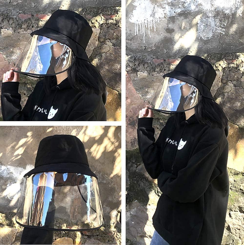 Bobs Chapeau Hommes Femmes Pliables de P/êcheur de Plein Air Adulte Transparent visage Anti-poussi/ère Masque en Bob Cotton pour Soleil Air Plage Camping Casquettes Amovible Masque Velcro Unisexe
