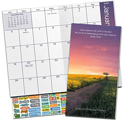 2020 Christian Calendar Amazon.: Psalms Monthly Pocket Planner 2019 2020 with
