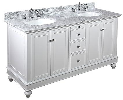 Kitchen Bath Collection KBC222WTCARR Bella Double Sink Bathroom ...