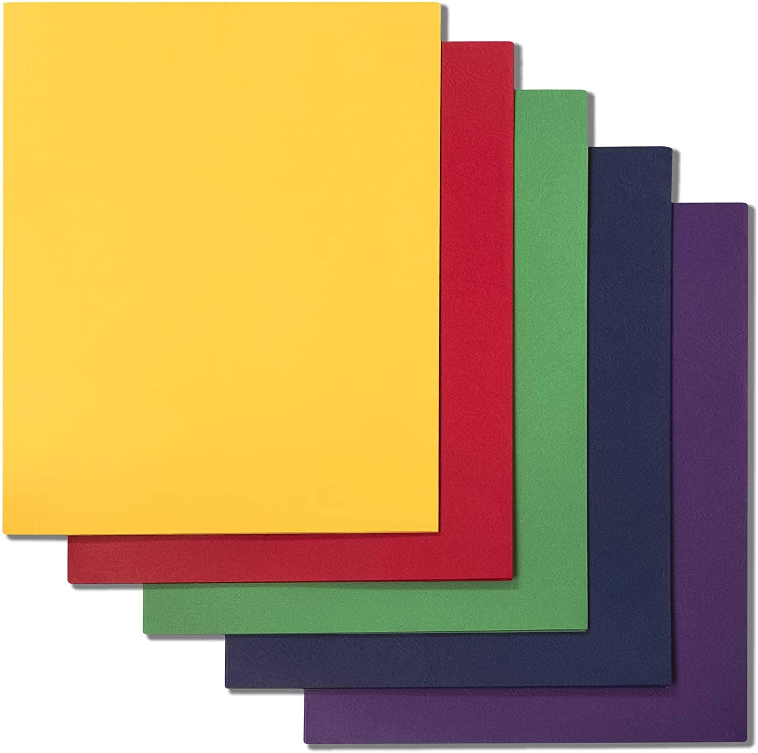 Ensight 50 Pack Two Pocket Folders, Use for School Classroom and Office, Textured Paper, Holds 100 Letter Size Sheets, Assorted Colors