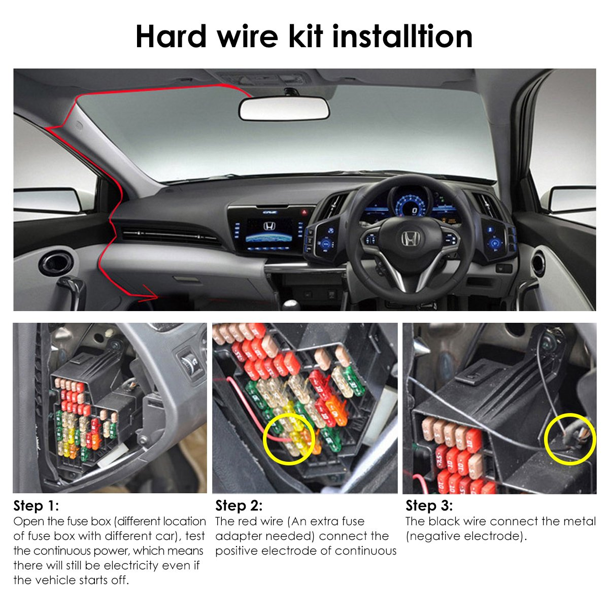 Vantrue Dash Cam Mini Usb Car Hard Wire Kit Micro Port Fuse Box Charger Cable 12v
