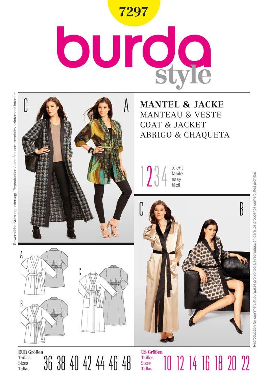 Amazon.com: Burda Ladies Sewing Pattern 7297 - Jacket & Coat Sizes: 10-22: Kitchen & Dining