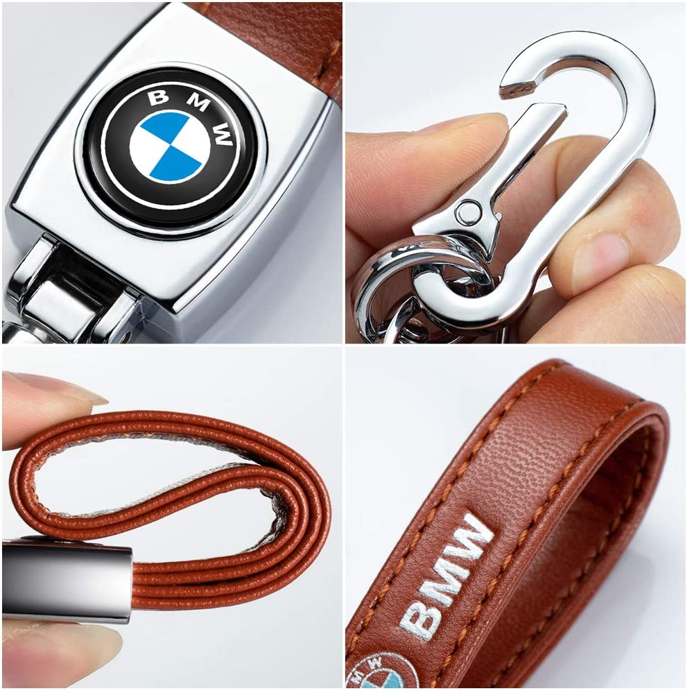 Brown Genuine Leather Car Key Fob Keychain Suit for Audi Q5 Q7 R8 S5 S7 Q5 A1 A3 A4 A5 A6 A7 A8 RS Keychain Keyring Family Present for Man and Woman Car Key Chain for Audi