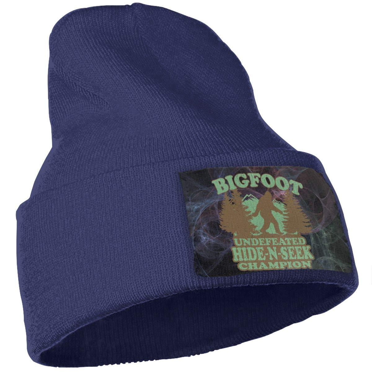 Bigfoot Undefeated Hide and Seek Champion Beanies Hat Wool Skull Cap Unisex