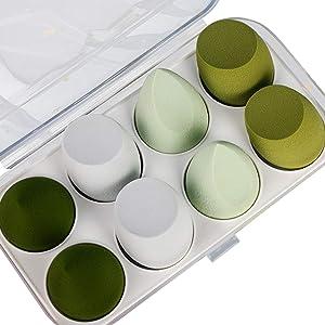 8 Pcs Makeup Sponge Set, Makeup Beauty Sponges Blender, Cosmetic Tool Multi-colored Blending Make Up Sponges for Foundation Liquid Cream (green 1)