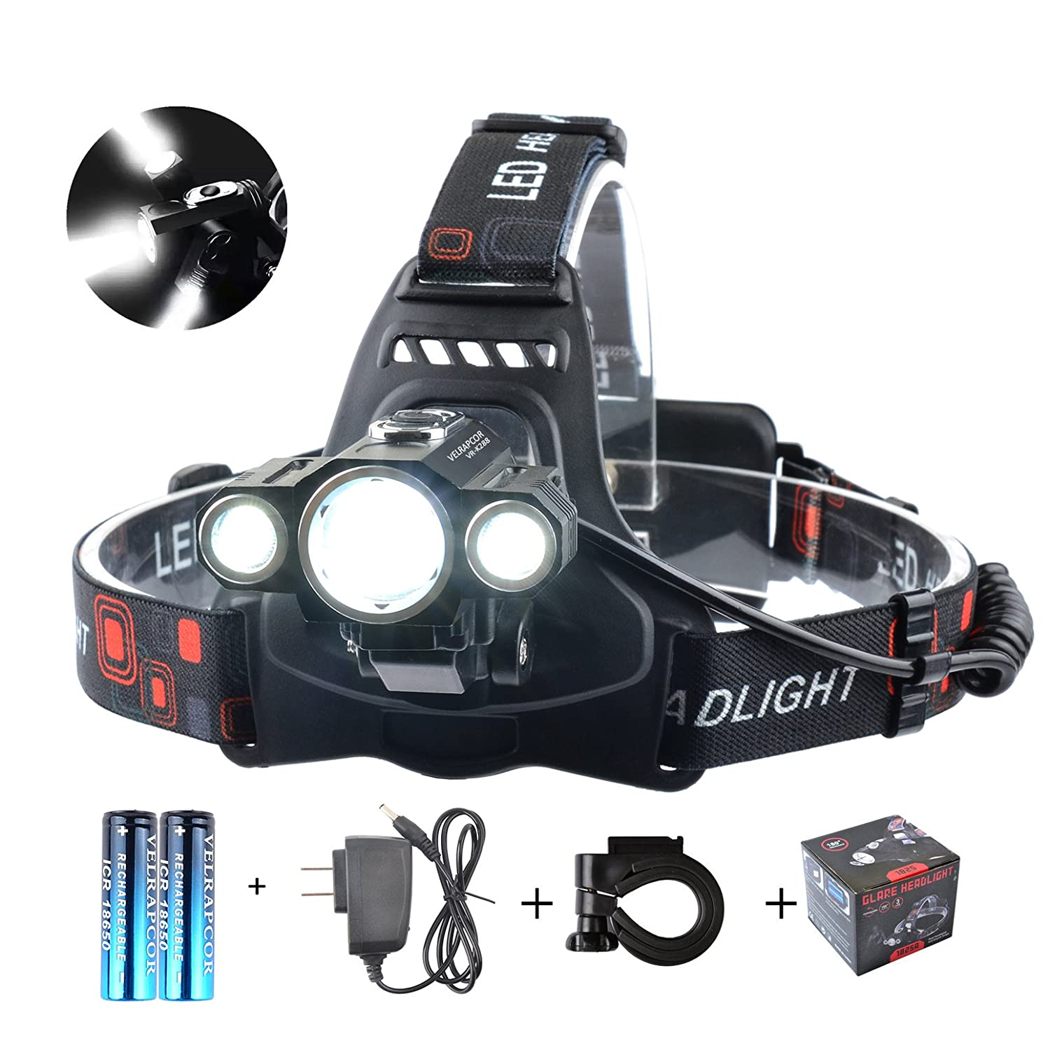 VELRAPCOR Brightest LED Headlamp Headlight CREE 1 T6 2 R5 4 Modes 5000 Lumens Waterproof Rechargeable 18650 Batteries, Black