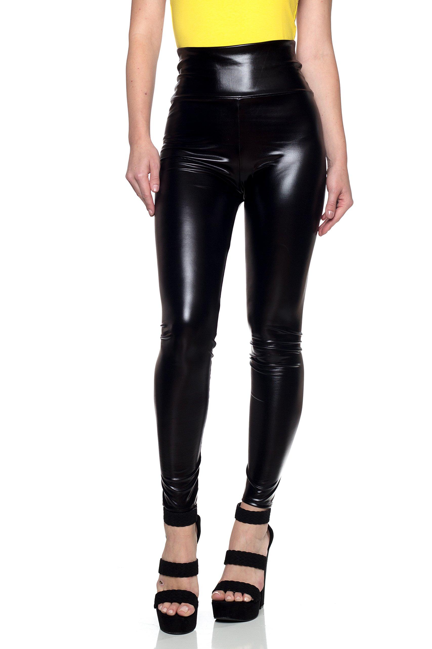 J2 Love Women's Junior Plus Faux Leather High Waist Leggings, 2X, Metallic Black