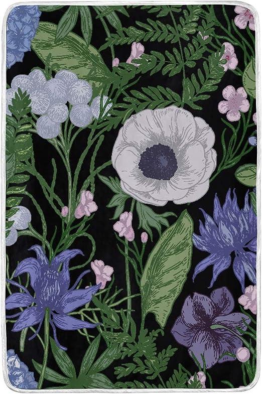 Amazon Com Home Soft Blanket Tropical Purple Pink Flowers Green