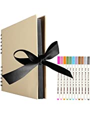 EVNEED Scrapbook Photo Album with Black Page 12x9,DIY Anniversary Travel Memory Book(40 Sheets, 80 pages£©With 12 Pcs Markers Paints Pens