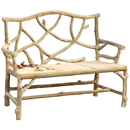 Superieur Currey And Company 2705 Woodland   49u0026quot; Bench, Faux Bois Finish