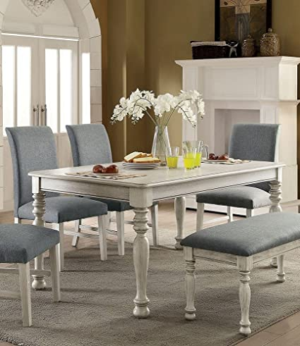 Amazon Com Siobhan Ii Antique White Wood Dining Table By Furniture