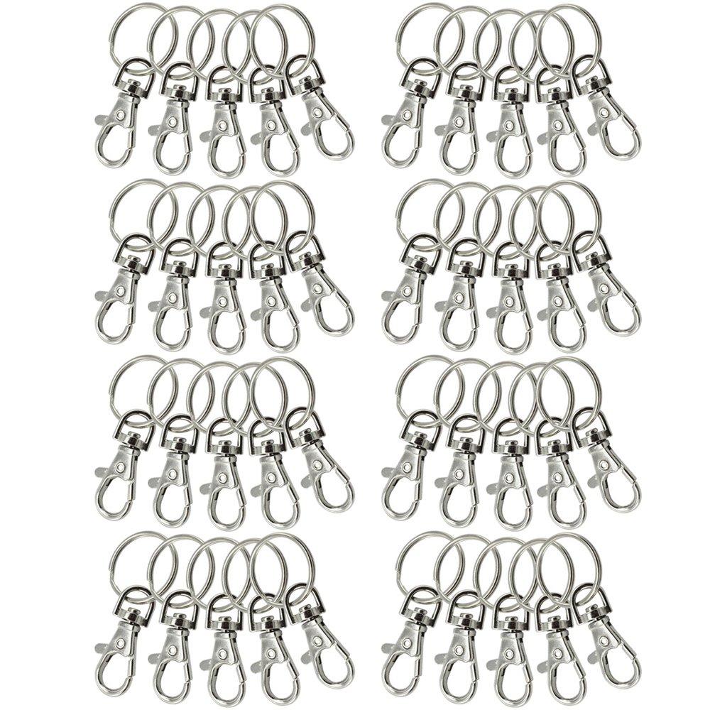 com-four® 10x Karabinerhaken mit Schlüsselring, 24 mm, Karabiner mit Drehgelenk für Schlüsselanhänger (10 Stück)