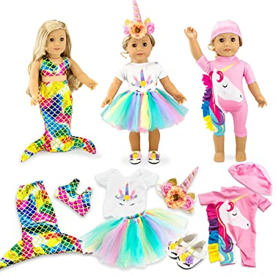 "Oct17 Doll Clothes for American Girl 18"" inch Dolls Mermaid Outfit Unicorn Tutu Dress Swimsuit: Toys & Games"