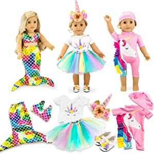 """Oct17 Doll Clothes for American Girl 18"""" inch Dolls Mermaid Outfit Unicorn Tutu Dress Swimsuit"""