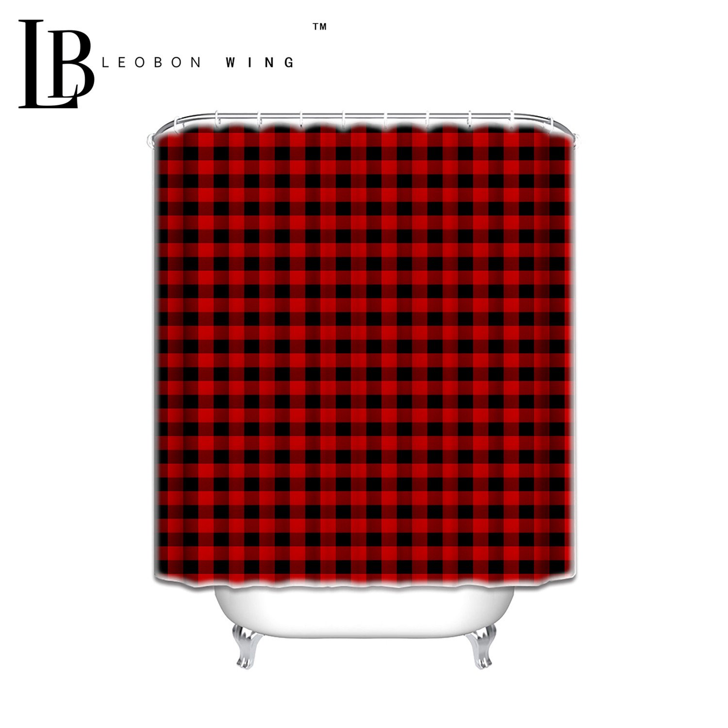 Personalized Shower Curtains Rustic Red Black Buffalo Check Plaid Pattern Shower Curtain 72 W x 72 L by Ocean color