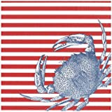 Caspari Red, Crabs and Stripes Paper Luncheon Napkins, 20 Per Package