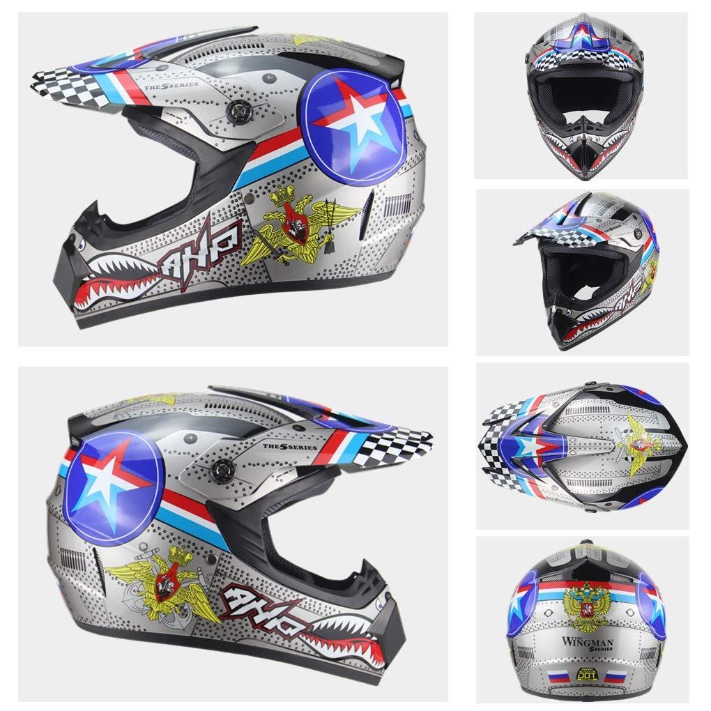 Guantes, Gafas, m/áscara, Juego de 4 Piezas Sanqing Casco para Motocicleta Casco de Carreras de Motocross Todo el Rostro para Todo Terreno