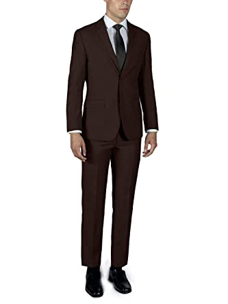 0b5122b8e363 Alain Dupetit Men's Two Button Slim or Regular Fit Suit in Many Colors  (Brown (