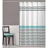 MAYTEX Simple Striped Fabric Shower Curtain, 70 inches x 72 inches, Multi Grey