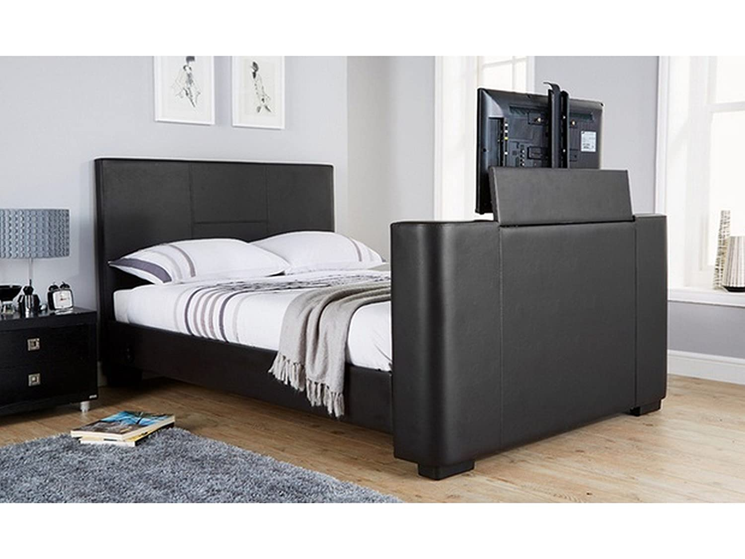 Super king size bed with tv - Newark 5ft King Size Faux Leather Electric Tv Bed Black