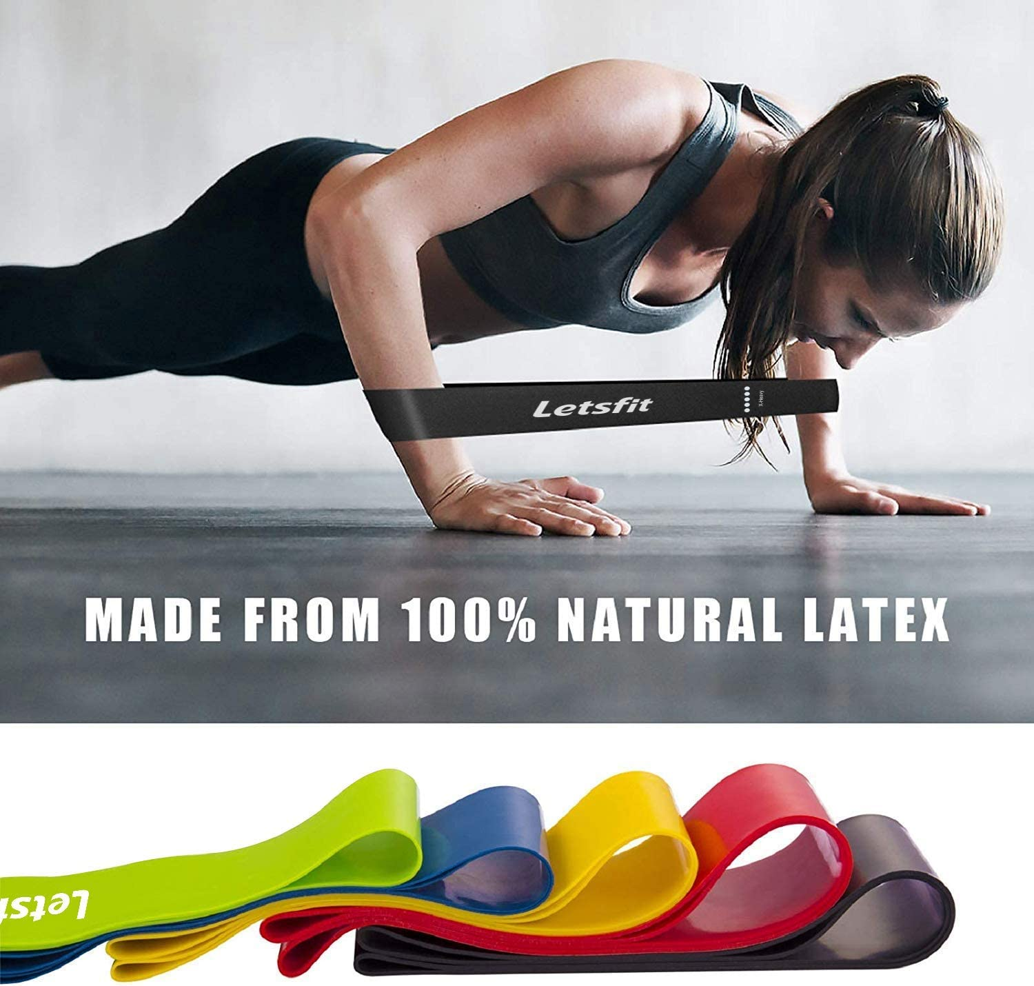 Letsfit Resistance Loop Bands, Resistance Exercise Bands for Home Fitness, Stretching, Strength Training, Physical Therapy, Natural Latex Workout Bands, Pilates Flexbands : Sports & Outdoors