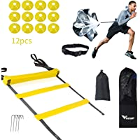 Vivitory Speed Agility Training Set - Adjustable Rung Speed Ladder with 12 Disc Cones for Football, Workout, Footwork Training - Includes Resistance Parachute, 4 Metal Stakes