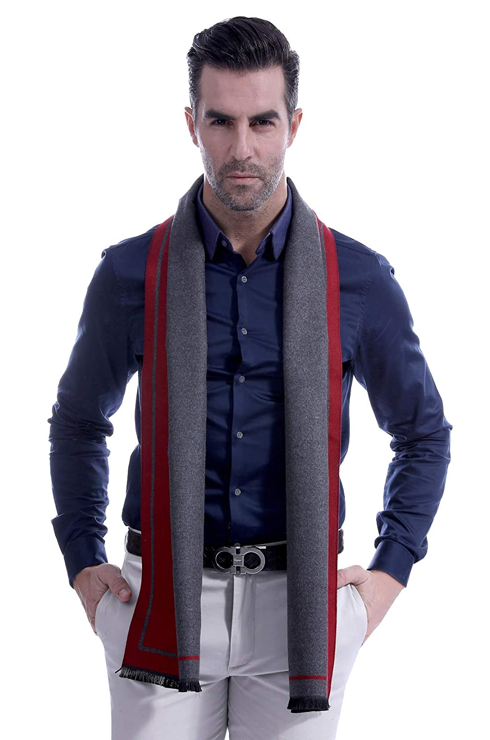 Business Men Scarf Long Winter Scarves Stylish Patchwork Color Winter Neck Scarf Head Scarf for Men Beige & Brown Panegy