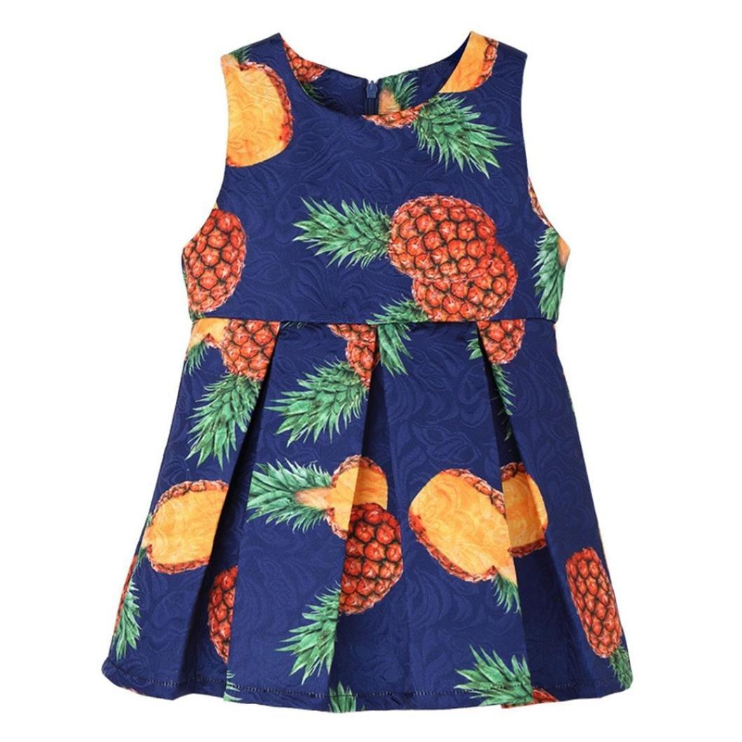 Mounter Robe D'été de Fille, Enfants Bébé Filles O-Neck Ananas Imprimer Manches Plissées Pendule à Glissière Princesse Mini Jupe Vêtements 24Mois-7Ans
